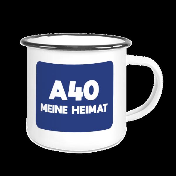 Bild: Emailletasse mit lustigem Spruch Ruhrpott A40 - Geschenk