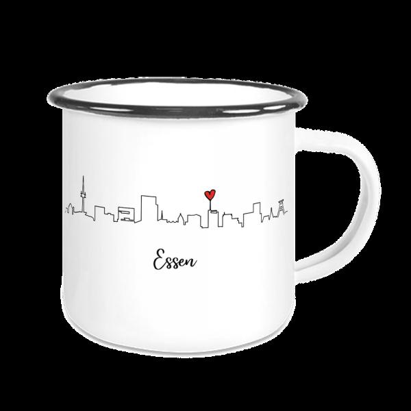 Bild: Emailletasse mit der Skyline Essen Ruhrpott - Geschenk
