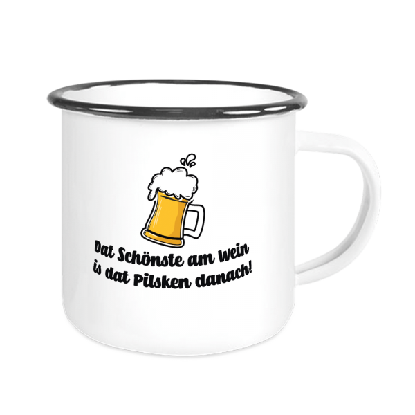 Bild: Emailletasse mit lustigem Spruch Ruhrpott Pilsken - Geschenk