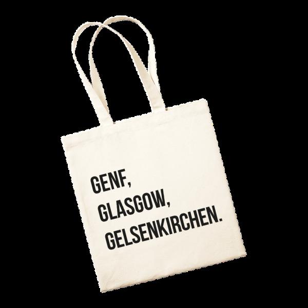 Jutetasche - Genf, Glasgow, Gelsenkirchen.